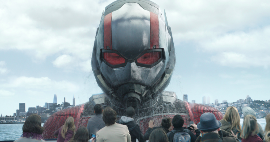 A large Ant-Man peering down on deck of a ship.